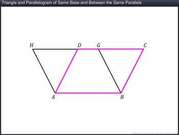 Animated video Lecture for Triangle and Parallelogram of Same Base and Between the Same Parallels