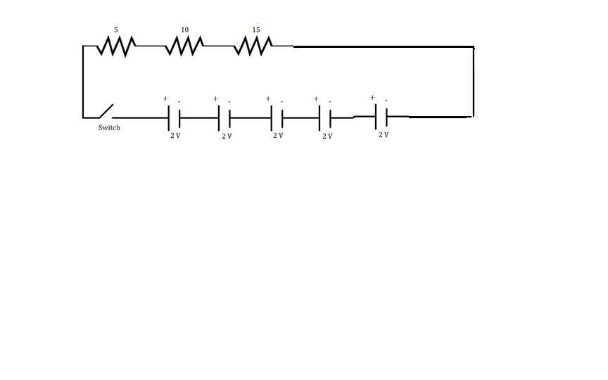 draw a schematic diagram of circuit consisting of a battery of five ...