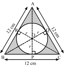 Find the radius of the inscribed circle and the area of the shaded p q r are the points on bc ca and ab respectively then opbc oqac orab assume the radius of the circle as r cm ccuart Images
